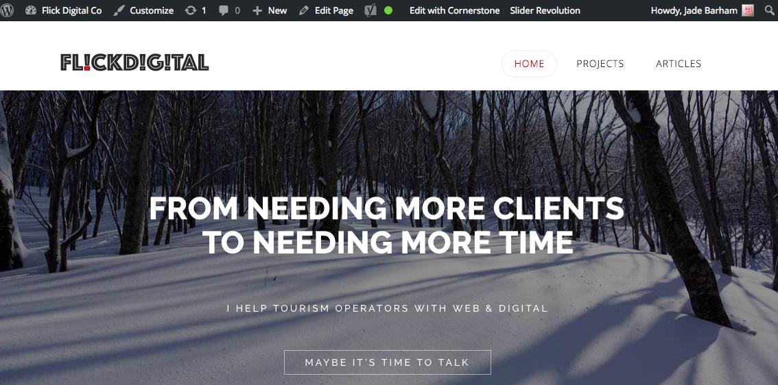 A screenshot of the Flick Digital Homepage
