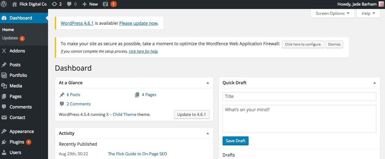 A screenshot of the Wordpress backend