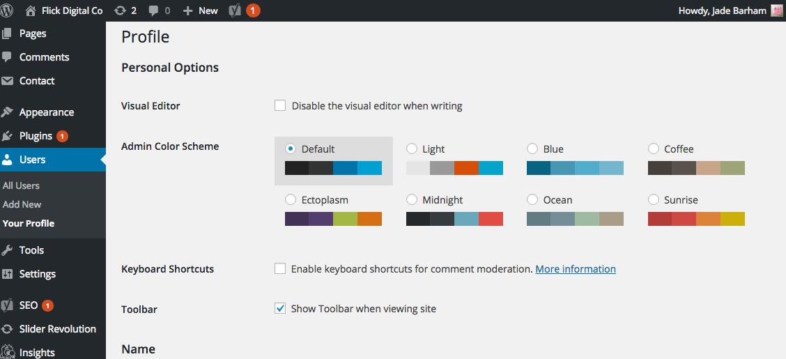 A screenshot of the Wordpress Edit My Profile page