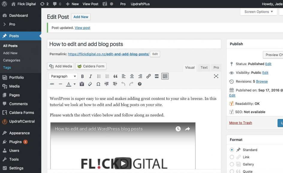 how to edit and add wordpress blog posts