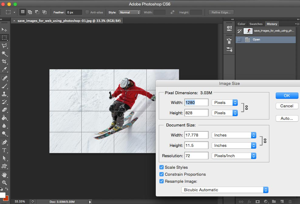 save images for web using photoshop - resize