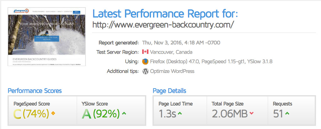 The GT Metrix speed performance report for Evergreen Backcountry Guides with a page load time of 1.3 seconds