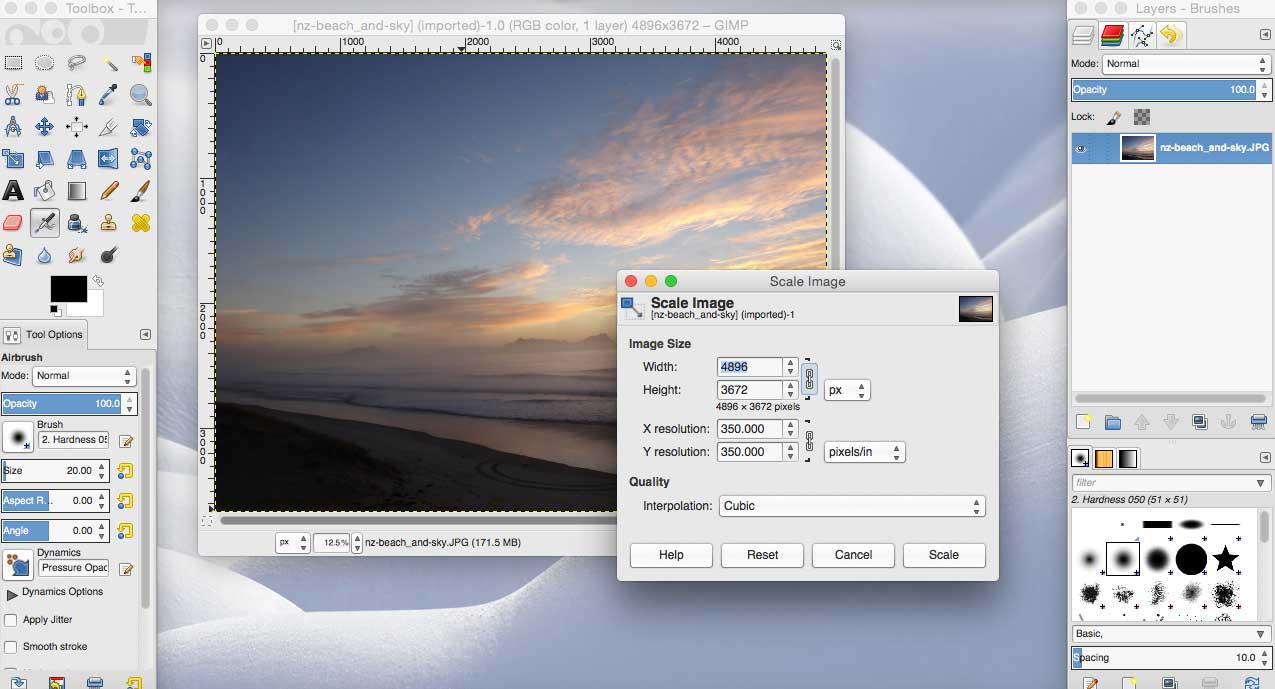 save images for web using gimp - resize