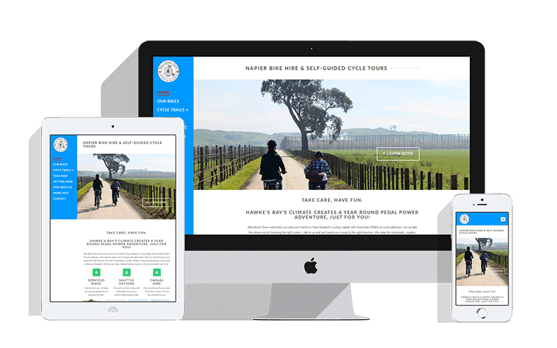 bike about tours web design hawkes bay project