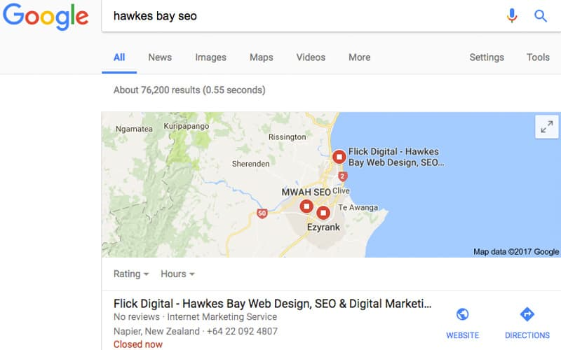 seo christchurch results in local pack