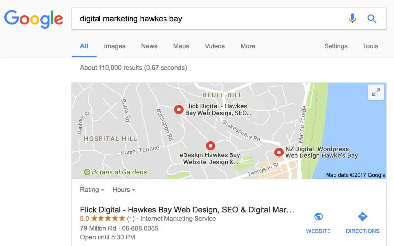 flick digital local map ranking for digital marketing hawkes bay