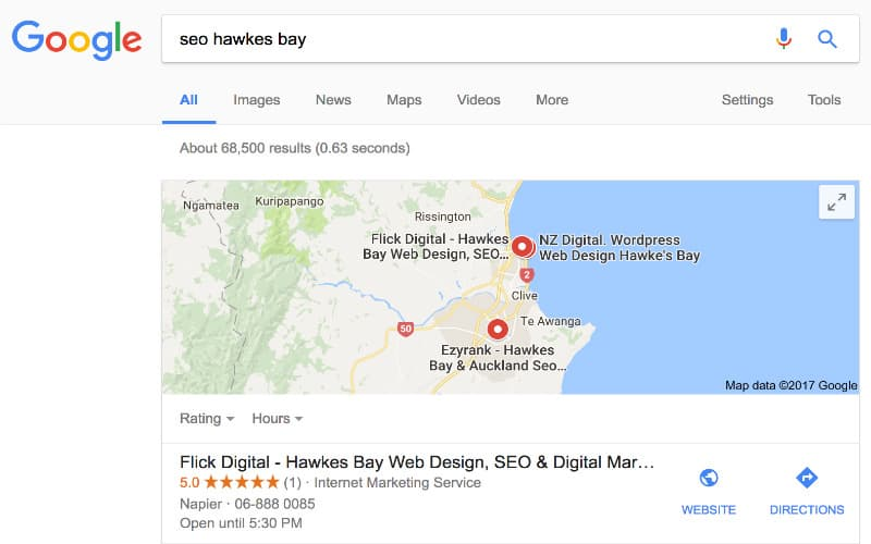 flick digital local map ranking for seo hawkes bay