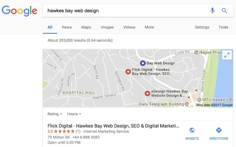flick digital local map ranking for web design